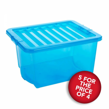 5 for the Price of 4 Blue Storage Boxes with Lids - 35 L