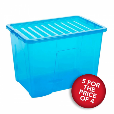 5 for the Price of 4 Blue Storage Boxes with Lids - 80 L