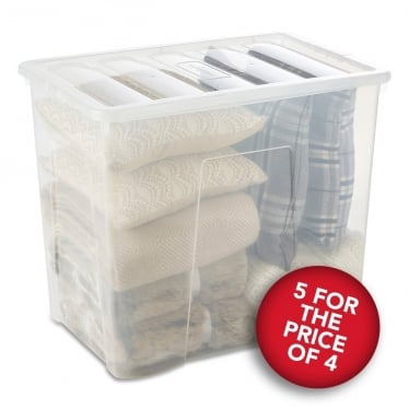 5 for the Price of 4 Clear Storage Boxes with Lids - 160 L