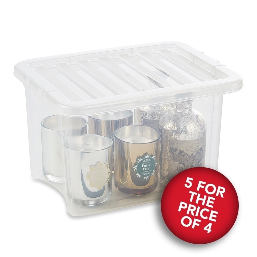 5 For The Price Of 4 Clear Storage Boxes With Lids   24 L