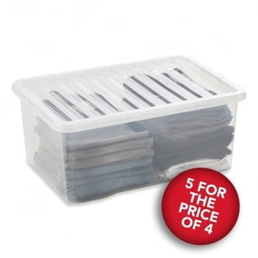 5 for the Price of 4 Clear Storage Boxes with Lids - 45 L