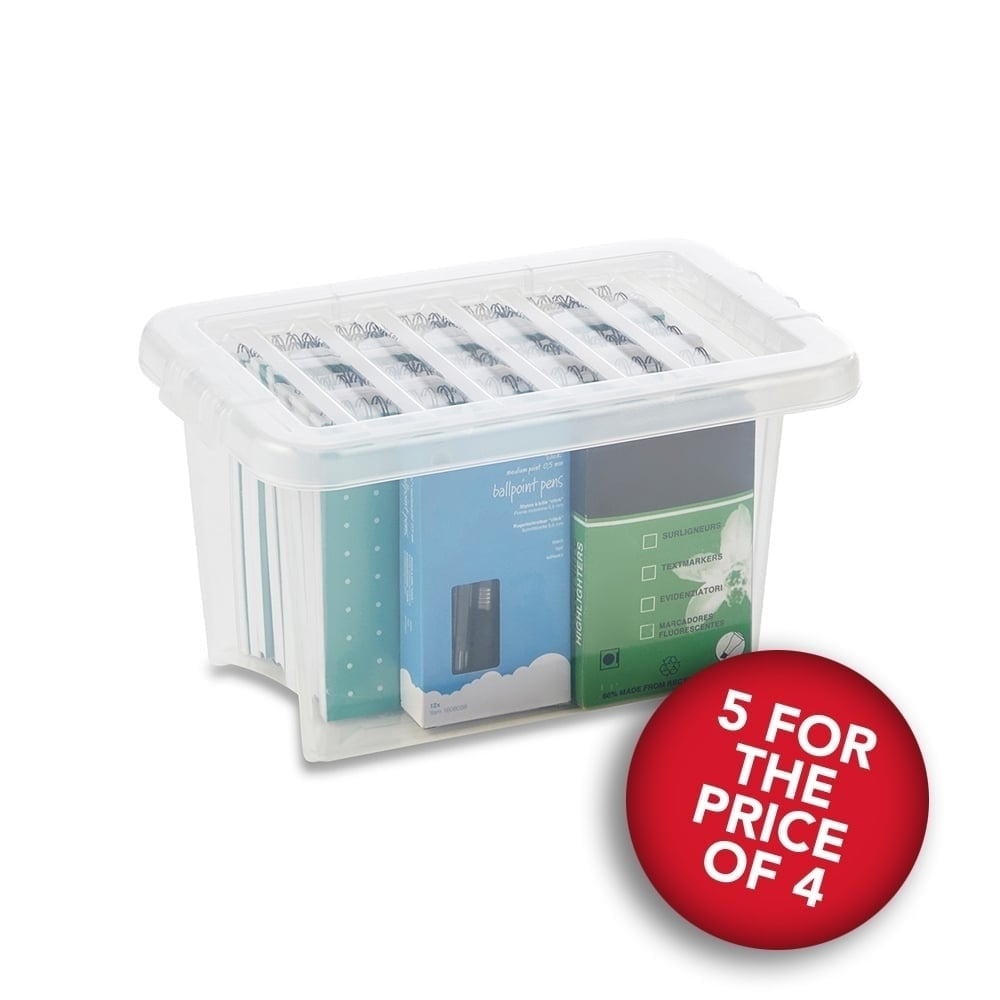 5 For The Price Of 4 Clear Storage Boxes With Lids   6.5 L