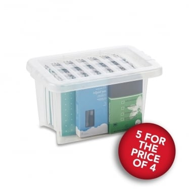 5 for the Price of 4 Clear Storage Boxes with Lids - 6.5 L