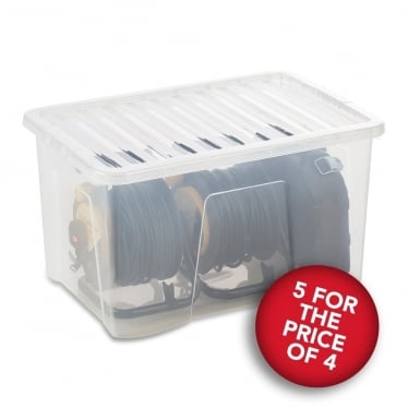 5 for the Price of 4 Clear Storage Boxes with Lids - 60 L
