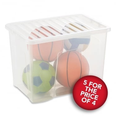 5 for the Price of 4 Clear Storage Boxes with Lids - 80 L