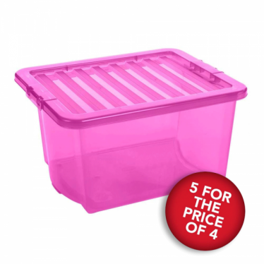 5 for the Price of 4 Pink Storage Boxes with Lids - 35 L
