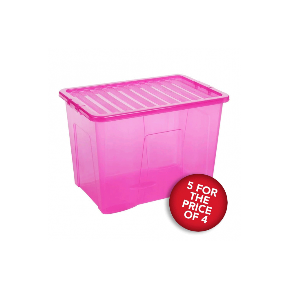 5 For The Price Of 4 Pink Storage Boxes With Lids   80 L