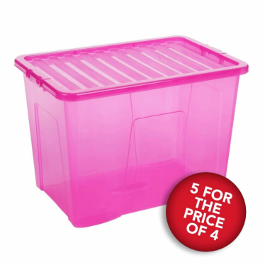 5 for the Price of 4 Pink Storage Boxes with Lids - 80 L