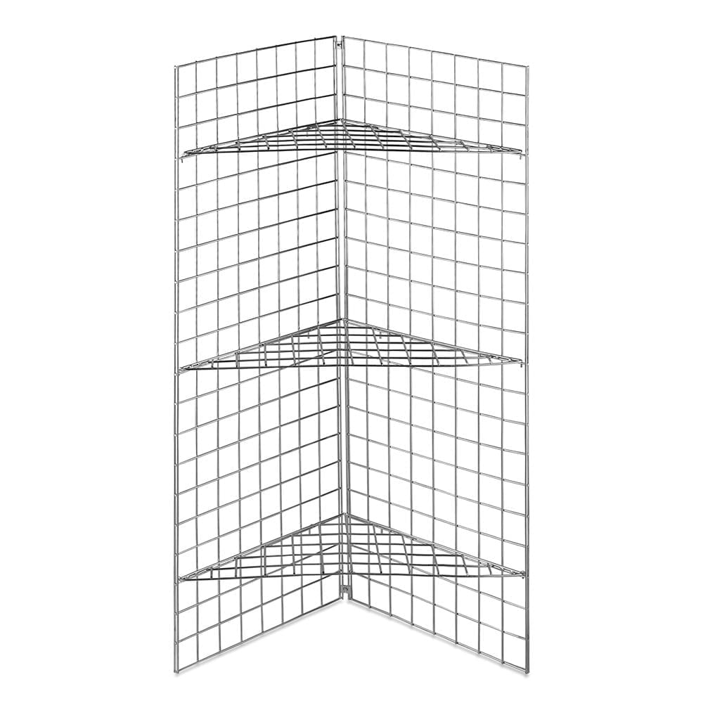 Wire Mesh Shelving | 5ft Gridwall Corner Mesh Panel With 3 Wire Mesh Shelves
