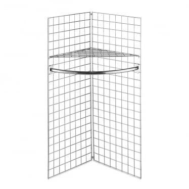 5 ft Freestanding Grid Mesh Shelf with Hanging Rail