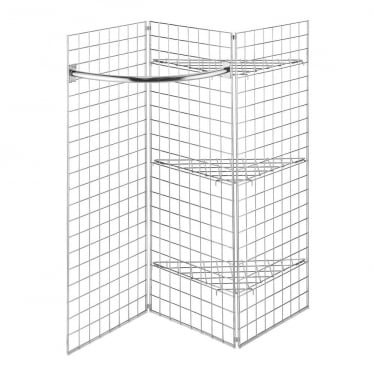 5 ft Freestanding Grid Mesh Shelving with Hanging Rail