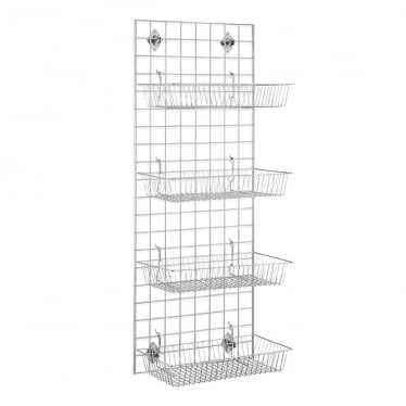 5 ft Wall-Mounted Grid Mesh with Baskets