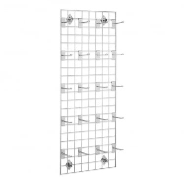 5 ft Wall-Mounted Grid Mesh with Hooks