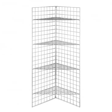 6 ft Freestanding Grid Mesh Corner Shelving