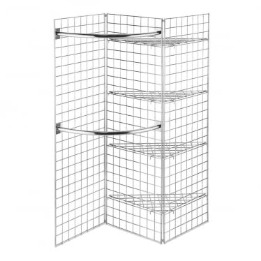 6 ft Freestanding Grid Mesh Shelving with Hanging Rails
