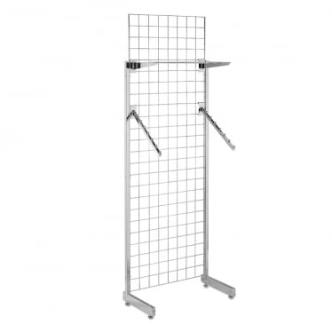 6 ft Freestanding Grid Mesh with Sloping Rails and Acrylic Shelf