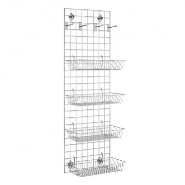 6 ft Wall-Mounted Grid Mesh with Baskets and Hooks