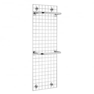 6 ft Wall-Mounted Grid Mesh with Hanging Rails