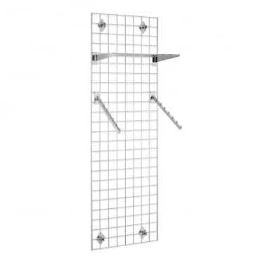 6 ft Wall-Mounted Grid Mesh with Sloping Rails and Acrylic Shelf