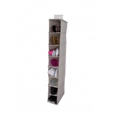 8 Pocket Shoe Organiser - Oyster with Grey Trim