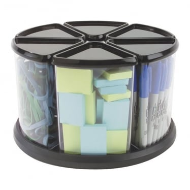 Black Carousel Storage Tidy Organiser with 6 Tubs