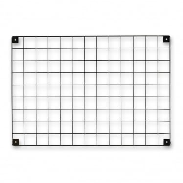 Black Grid Mesh Panel with Built-in Wall Brackets