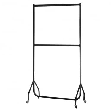 Black Heavy-Duty 2-Tier Clothes Rail