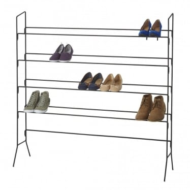 Black Heavy-Duty 4-Tier Wire Shoe Rack - Up to 20 Pairs of Shoes