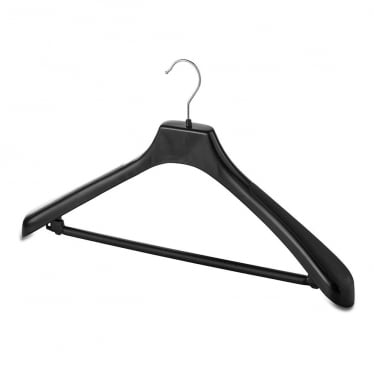 Black Plastic Suit Hanger with Wide Shoulders and Trouser Bar