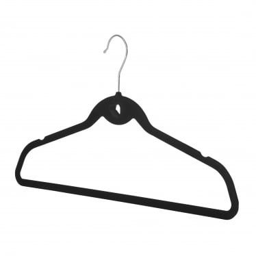 Black Velvet Hanger with Trouser Bar and Accessory Notch