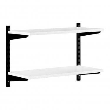 Black & White Adjustable Shelving - 2 Wooden Shelves