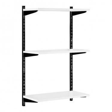 Black & White Adjustable Shelving - 3 Wooden Shelves