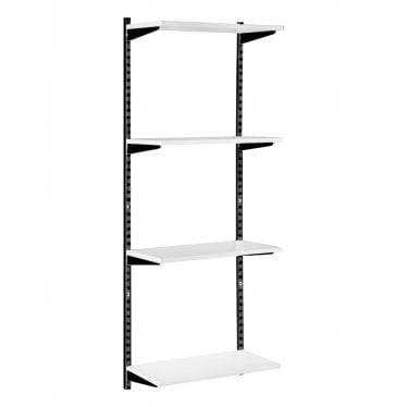 Black & White Adjustable Shelving - 4 Wooden Shelves
