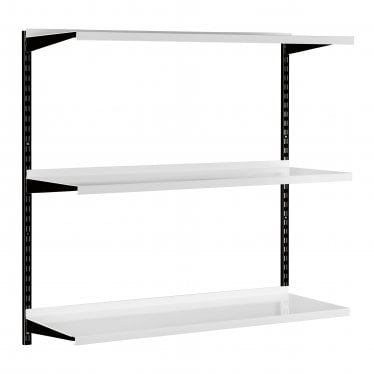 Black & White Adjustable Steel Shelving Kit - 3 Steel Shelves