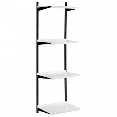 Black & White Adjustable Steel Shelving Kit - 4 Steel Shelves