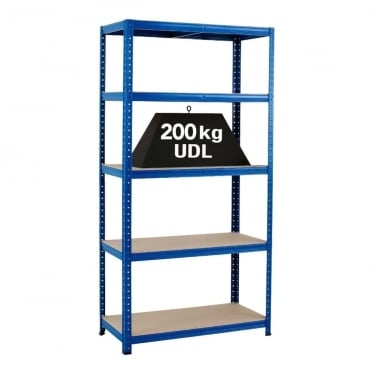 Blue Economy Shelving - Up to 200 kg UDL, 5 Chipboard Shelves