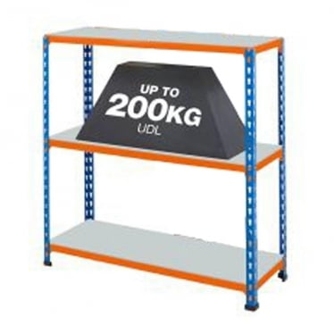 Blue/Orange Commercial Shelving - Up to 200 kg UDL, 3 Galvanised Shelves