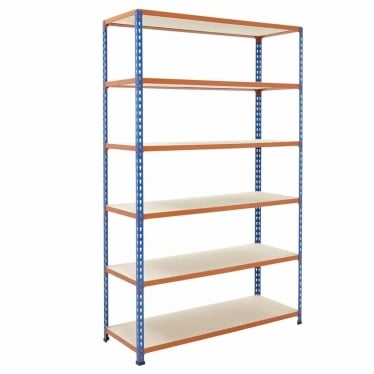 Blue/Orange Commercial Shelving - Up to 340 kg UDL, 6 Chipboard Shelves