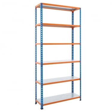 Blue/Orange Commercial Shelving - Up to 340 kg UDL, 6 Galvanised Shelves