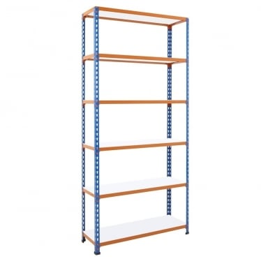 Blue/Orange Commercial Shelving - Up to 340 kg UDL, 6 Melamine Shelves