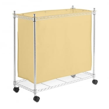 Chrome and Cream Wheeled Laundry Basket, Large