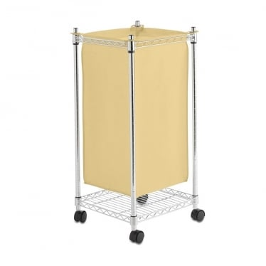 Chrome and Cream Wheeled Laundry Basket, Small