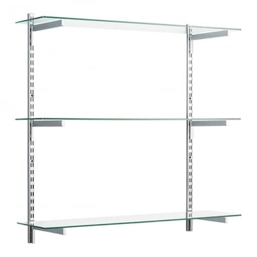Chrome/Glass Adjustable Shelving - 2 x 1000 mm Uprights, 3 x Shelves, 6 x 300 mm Square Brackets