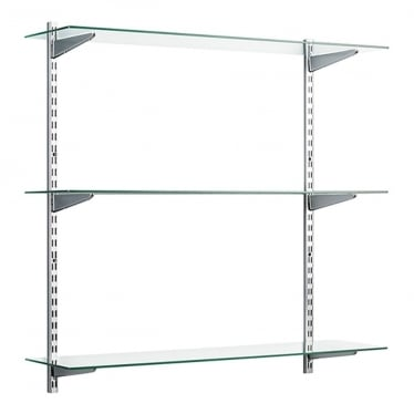 Chrome/Glass Adjustable Shelving - 2 x 1000 mm Uprights, 3 x Shelves, 6 x U-Brackets