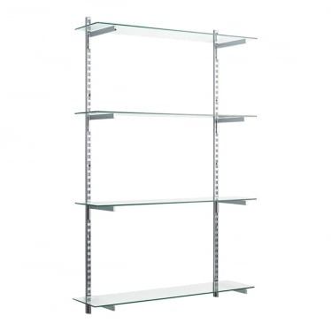 Chrome/Glass Adjustable Shelving - 2 x 1600 mm Uprights, 4 x Shelves, 8 x 300 mm Square Brackets