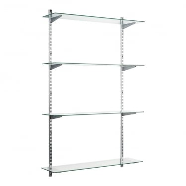 Chrome/Glass Adjustable Shelving - 2 x 1600 mm Uprights, 4 x Shelves, 8 x U-Brackets