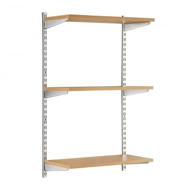 Chrome/Oak Adjustable Shelving - 2 x 1000 mm Uprights, 3 x Shelves, 6 x Brackets