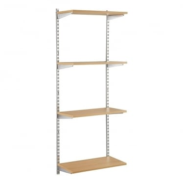 Chrome/Oak Adjustable Shelving - 2 x 1600 mm Uprights, 4 x Shelves, 8 x Brackets