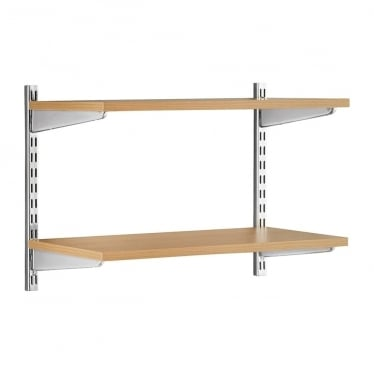 Chrome/Oak Adjustable Shelving - 2 x 430 mm Uprights, 2 x Shelves, 4 x Brackets