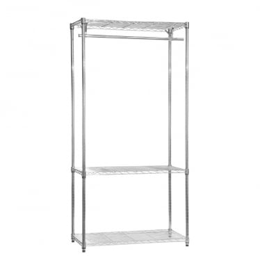 Chrome Wire Clothes Rack - 3 Shelves & 1 Rail